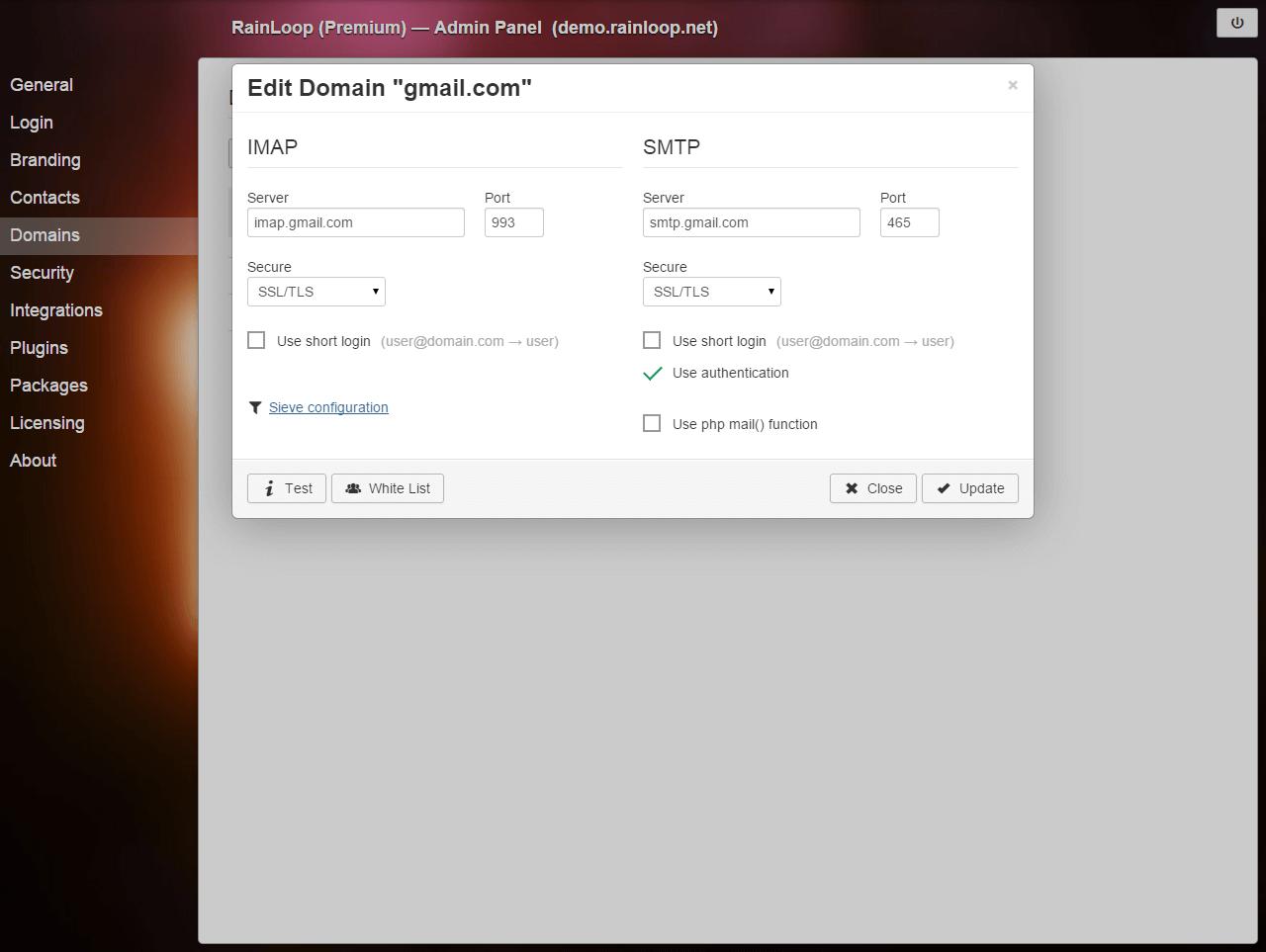 Documentation / Configuration / RainLoop Webmail